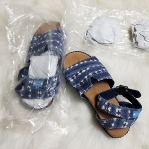 Toms Denim Girls Sandals Size 13R Ankle Buckle New